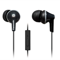 U356312 PANASONIC ErgoFit Earbud Headphones with Microphone and Call Controller Compatible with iPhone, Android and Blackberry - RP-TCM125-K - In-Ear (Black)