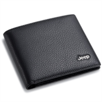 H392424 Leather Wallets Jeep Bifold Wallet with 3 Card Slots and ID Window - Genuine Leather, Black