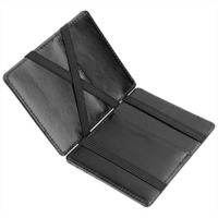 Z598934 ZhaoCo Minimalist RFID Magic Wallet, Genuine Leather Slim Front Pocket Purse Credit Card Case and Money Cash Holder with ID Window, Mini Bifold Wallet Gift