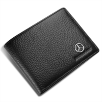O197340 Genuine Leather Bifold Wallet with 3 Card Slots and ID Window For Mercedes Benz (Black, Mercedes Benz)