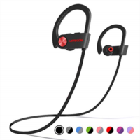 S133408 LETSCOM Bluetooth Headphones IPX7 Waterproof, Wireless Sport Earphones, Hifi Bass Stereo Sweatproof Earbuds W/Mic, Noise Cancelling Headset for Workout, Running, Gym, 8 Hours Play time
