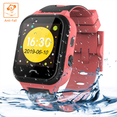 Z999634 Themoemoe Kids Smartwatch Phone, Kids Smartwatch Waterproof Anti-Fall 2G GPS/LBS Tracker SOS Camera Games Compatible with Android iOS(Pink)