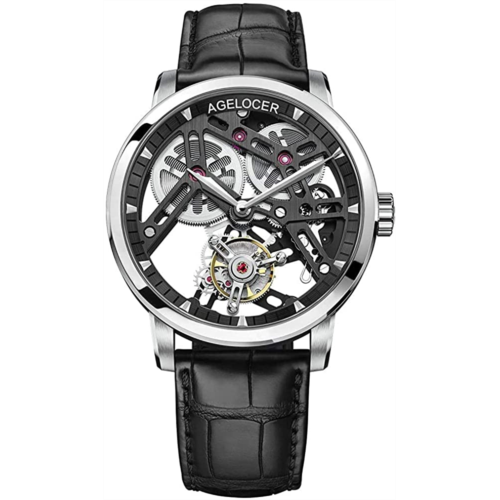 Y123631 Agelocer Men's Watch Top Brand Double-Sided Hollow Tourbillon Hand-Operated Mechanical Leather Luxury Wristwatch